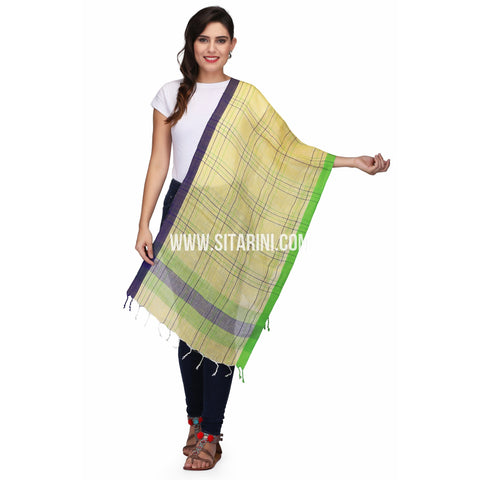 Handloom Linen Dupattas With Checks-Yellow-Sitarini-LWTLD136