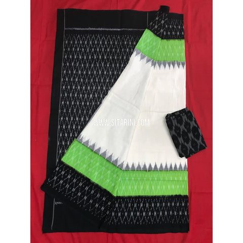 Ikat Cotton Sarees-Mercerised-White and Parrot Green-Sitarini-PGMHICS126