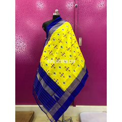 Ikat Dupattas-Pattu-Lemon Yellow and Dark Blue-Sitarini-PRRHIPD133