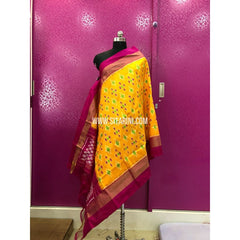Ikat Dupattas-Pattu-Lemon Yellow and Magenta-Sitarini-PRRHIPD130