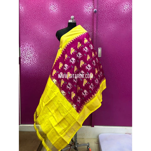 Ikat Dupattas-Pattu-Magenta and Lemon Yellow-Sitarini-PRRHIPD131