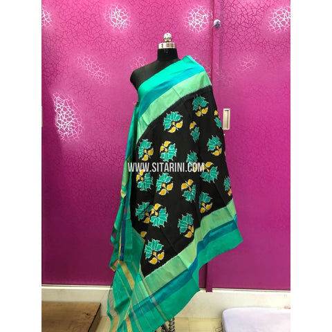 Ikat Dupattas-Silk-Black and Sea Green-Sitarini-PRRHIPD128