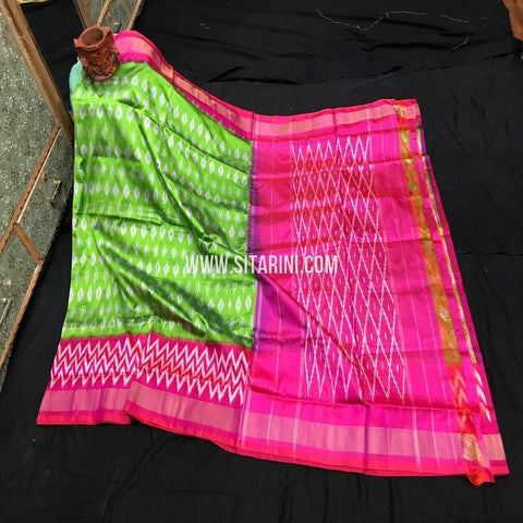 Ikat Light Weight Saree-Pattu-Green-Sitarini-SITIPS977
