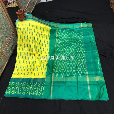 Ikat Light Weight Saree-Silk-Yellow-Sitarini-SITIPS986