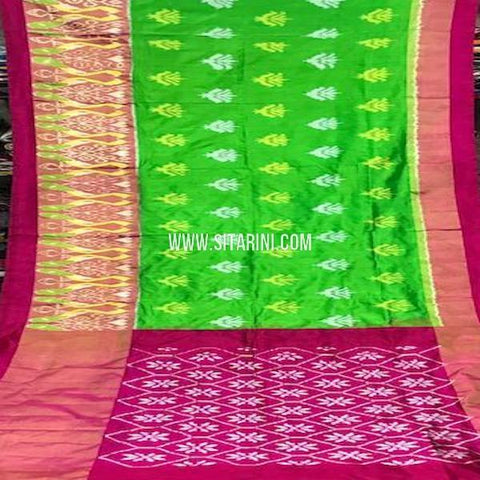 Ikat Pattu Saree-Green-Sitarini-SITIPS765