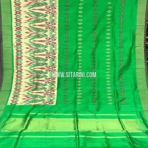Ikat Pattu Saree-Green-Sitarini-SITIPS767