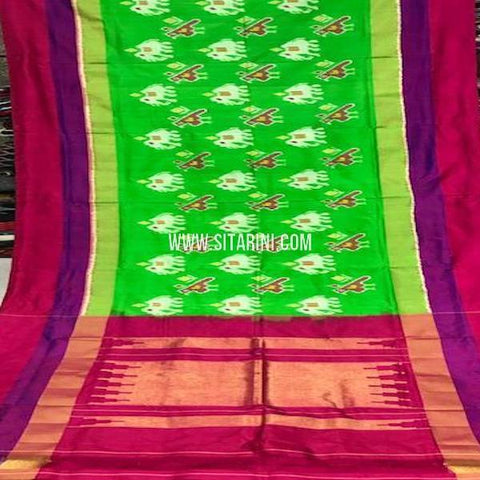 Ikat Pattu Saree-Green-Sitarini-SITIPS770