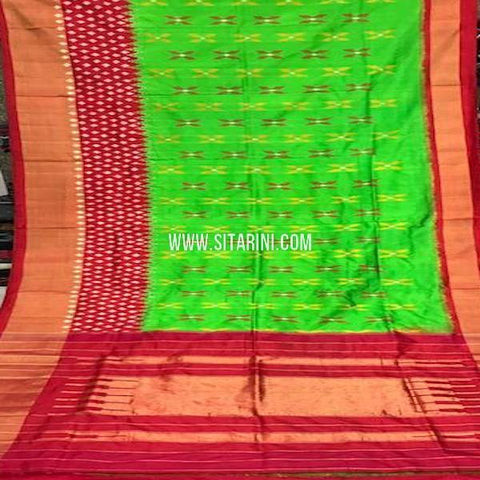 Ikat Pattu Saree-Green-Sitarini-SITIPS771