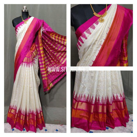 Ikat Pattu Saree-Off White-Sitarini-SITIPS854