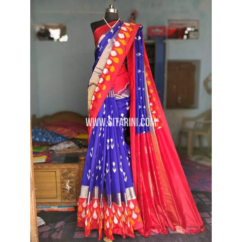Ikat Sarees-Silk-Dark Blue and Dark Pink-PRHIPS182