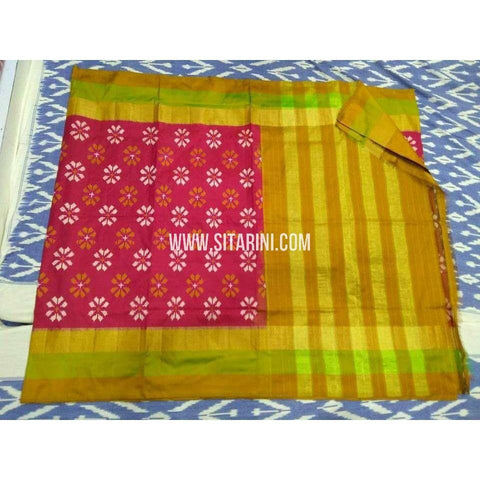 Ikat Sarees-Silk-Dark Pink and Yellow-PRHIPS193