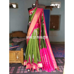 Ikat Sarees-Silk-Green and Magenta-PRHIPS178