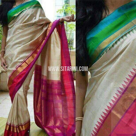 Ikat Sarees-Silk-Half White and Magenta-PRHIPS187