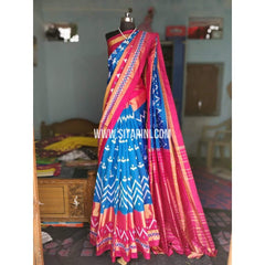 Ikat Sarees-Silk-Light Blue and Magenta-PRHIPS185