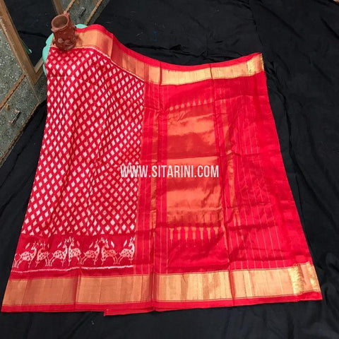 Ikat Silk Saree-Red-Sitarini-SITIPS871