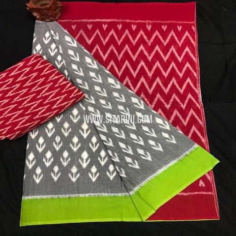 Ikkat Cotton Saree-Multicolor-Sitarini-SITICS343