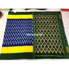 Ikkat Cotton Sarees-Blue and Bottle Green-Sitarini-PRRHICS114