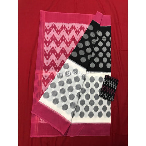Ikkat Cotton Sarees-Mercerised-Black and White-Sitarini-PGMHICS100