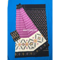 Ikkat Cotton Sarees-Mercerised-Lavender and Black-Sitarini-PGMHICS106