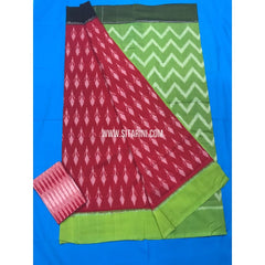 Ikkat Cotton Sarees-Mercerised-Red and Parrot Green-Sitarini-PGMHICS109