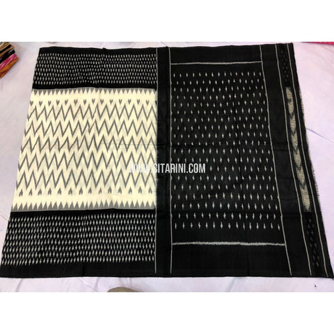 Ikkat Cotton Sarees-White and Black-Sitarini-PRRHICS112