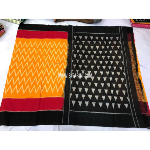 Ikkat Cotton Sarees-Yellow and Black-Sitarini-PRRHICS113