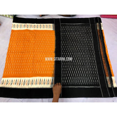 Ikkat Cotton Sarees-Yellow and Black-Sitarini-PRRHICS115