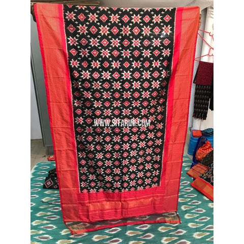 Ikkat Dupatta-Black and Orange-Sitarini-PGMHIPD145
