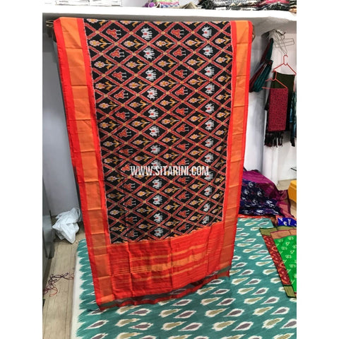 Ikkat Dupatta-Black and Orange-Sitarini-PGMHIPD147