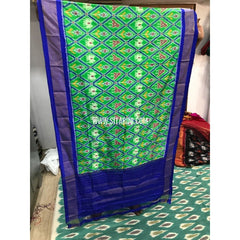 Ikkat Dupatta-Light Green and Royal Blue-Sitarini-PGMHIPD140
