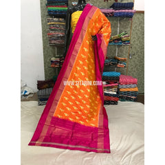 Ikkat Dupatta-Orange and Pink-Sitarini-PGMHIPD104