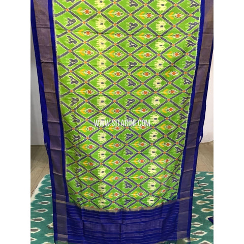Ikkat Dupatta-Parrot Green and Royal Blue-Sitarini-PGMHIPD142