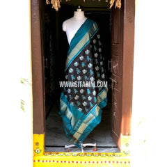 Ikkat Dupatta-Pattu-Black and Sea Blue-PSHIPD154