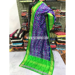 Ikkat Dupatta-Pattu-Blue and Green-Sitarini-SITIPD114