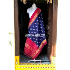 Ikkat Dupatta-Pattu-Blue and Pink-Sitarini-PSHIPD153
