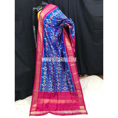 Ikkat Dupatta-Pattu-Blue and Pink-Sitarini-SITIPD131
