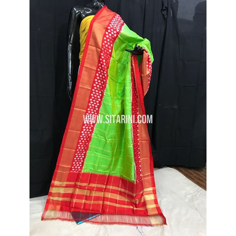 Ikkat Dupatta-Pattu-Green and Red-Sitarini-SITIPD136
