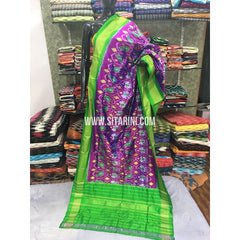 Ikkat Dupatta-Pattu-Magenta and Green-Sitarini-SITIPD103