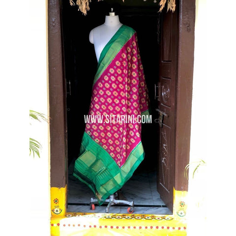 Ikkat Dupatta-Pattu-Magenta and Sea Green-Sitarini-PSHIPD156