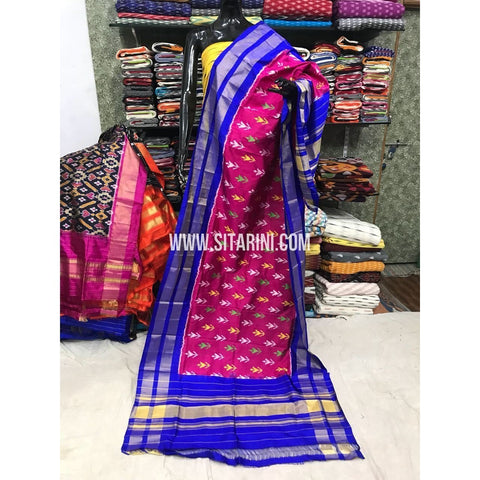 Ikkat Dupatta-Pattu-Pink and Blue-Sitarini-SITIPD128