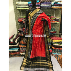 Ikkat Dupatta-Pattu-Red and Black-Sitarini-SITIPD116