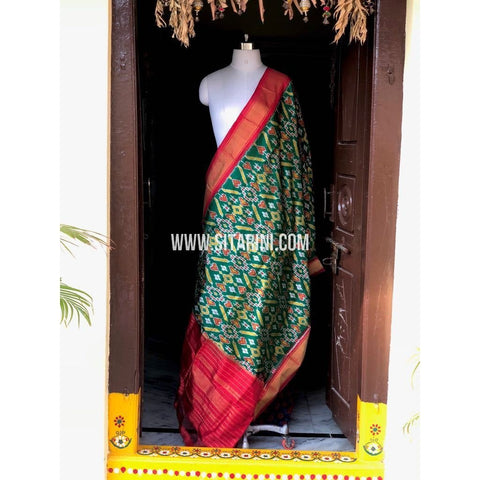 Ikkat Dupatta-Pattu-Sea Green and Red-Sitarini-PSHIPD152