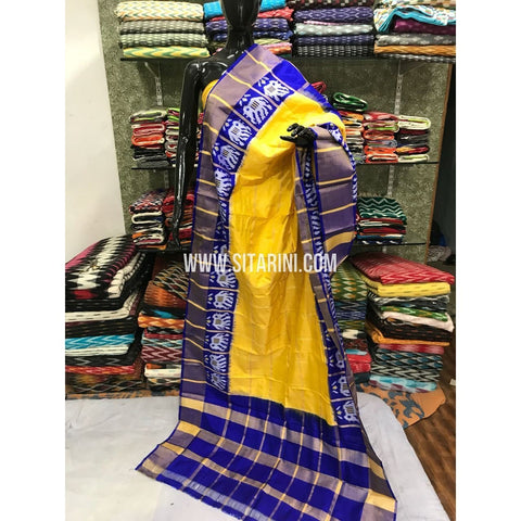 Ikkat Dupatta-Pattu-Yellow and Blue-Sitarini-SITIPD106