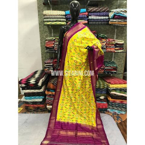 Ikkat Dupatta-Pattu-Yellow and Pink-Sitarini-SITIPD117