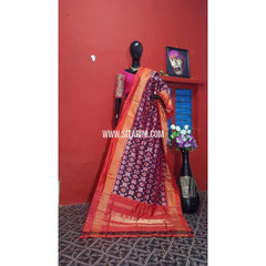 Ikkat Dupatta-Purple and Light Orange-Sitarini-PGMHIPD109