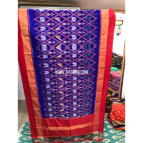 Ikkat Dupatta-Royal Blue and Orange-Sitarini-PGMHIPD148