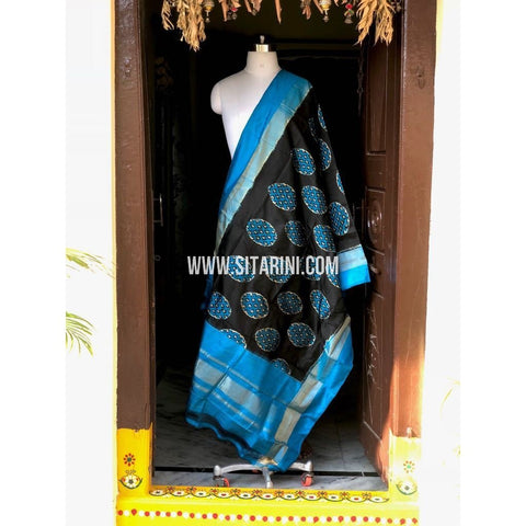 Ikkat Dupatta-Silk-Black and Sky Blue-Sitarini-PSHIPD150