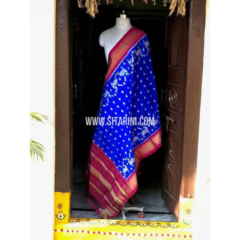 Ikkat Dupatta-Silk-Royal Blue and Pink-Sitarini-PSHIPD148
