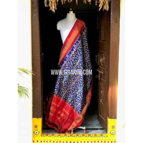 Ikkat Dupatta-Silk-Royal Blue and Red-Sitarini-PSHIPD145