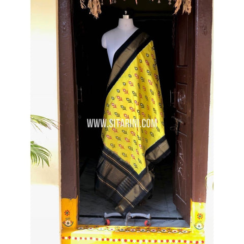Ikkat Dupatta-Silk-Yellow and Black-Sitarini-PSHIPD146